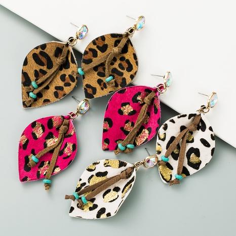 Geometric leather horsehair leopard print bronzing diamond earrings  NHLN340776's discount tags