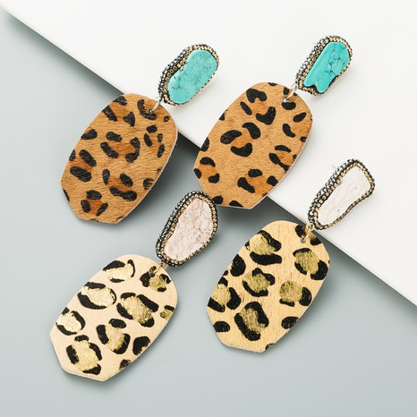 fashion exaggerated geometric leather leopard print earrings NHLN340779's discount tags