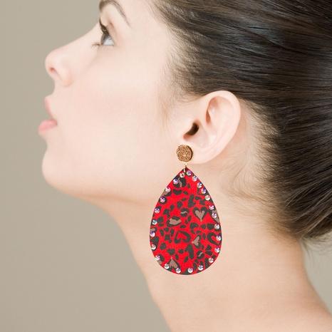 Bohemian drop-shaped PU leather rhinestones earrings NHLN340773's discount tags