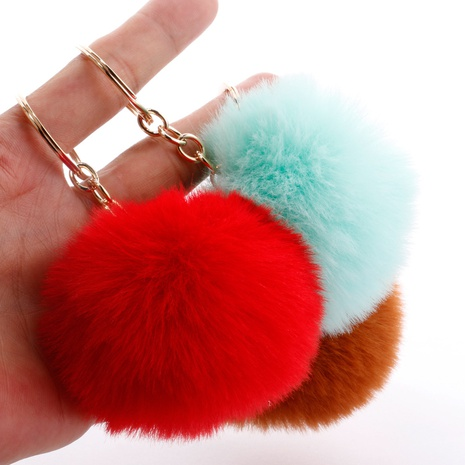 Fashion 7CM imitation rex rabbit fur small ball keychain wholesale NHDI340617's discount tags