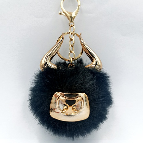 Fashion bull horn multicolor velet ball keychain wholesale NHDI340621's discount tags
