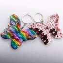 Fish scale sequin colorful flower butterfly doublesided keychain NHDI340625