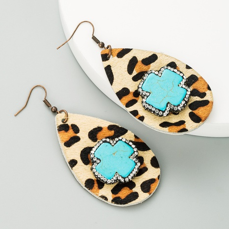Exaggerated drop-shaped leather leopard print earrings  NHLN340771's discount tags