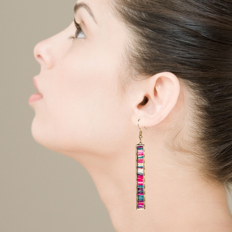 Fashion bar long alloy edging color leather earrings NHLN340770's discount tags