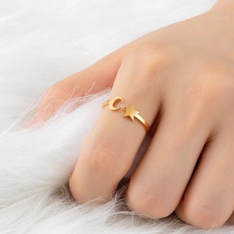 Mode Star Moon Edelstahl offenen Ring Großhandel NHAKJ340729's discount tags