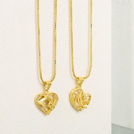 Fashion Mom Brief Palme Kupfer vergoldet Zirkon Halskette Großhandel NHLN340735's discount tags