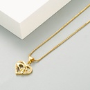 Fashion Mom letter palm copper goldplated zircon necklace wholesale NHLN340735
