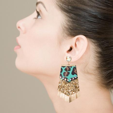 Pendientes de lentejuelas de cuero multicapa con estampado de leopardo bohemio NHLN340769's discount tags