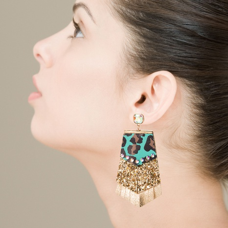 Bohemian Leopard print multi-layer leather sequined earrings NHLN340769's discount tags