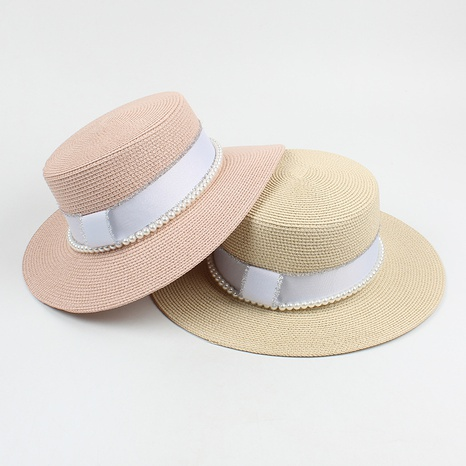 Fashion pearl M letter flat top wide-brimmed straw hat NHXO340416's discount tags