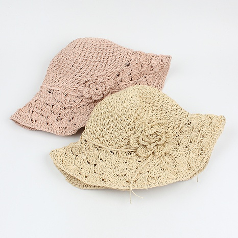 Fashion hand-woven flowers foldable sunscreen straw hat NHXO340414's discount tags