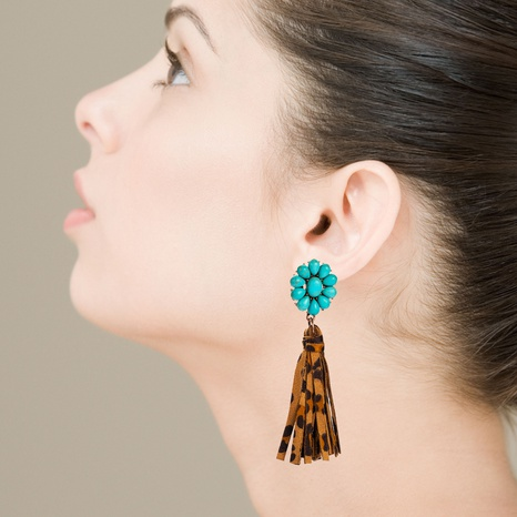 Hot Leopard Print Leather Tassel Long Earrings Bohemian Exaggerated Flower Turquoise Earrings NHLN340759's discount tags