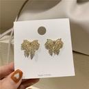 French big bow full diamond hollow pearl earrings NHOT340798