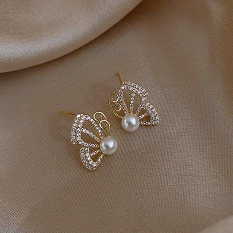 Retro-Stil Mode neue Schmetterling Perle Diamanten Ohrringe NHOT340795's discount tags