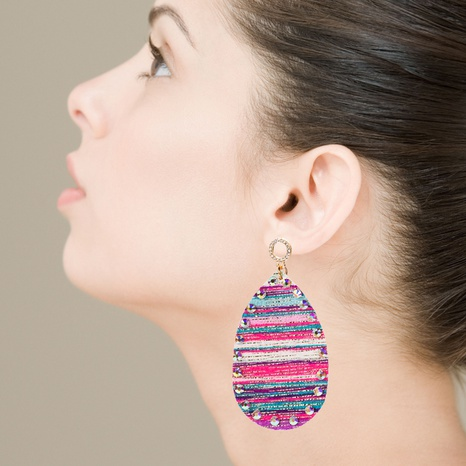 PU leather double-sided printing bohemian earrings NHLN340785's discount tags