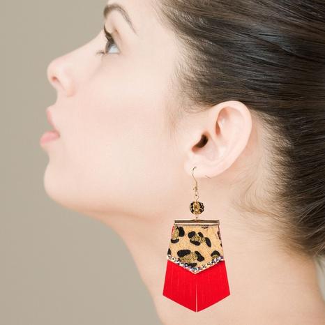 Leopard print hot stamped long leather rhinestone earrings bohemian earrings NHLN340787's discount tags