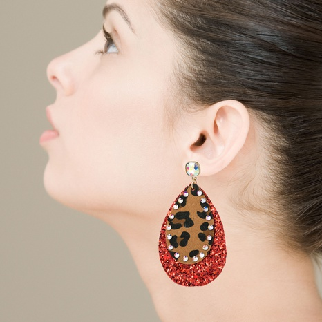 Exaggerated multi-layer leather leopard print sequin earrings  NHLN340786's discount tags