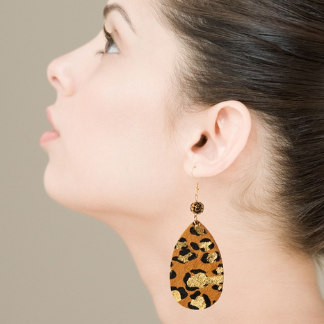 Wholesale leather leopard print bronzing long exaggerated earrings NHLN340788's discount tags