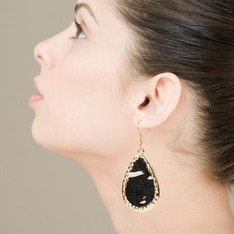 Alloy leather horsehair earrings drop-shaped zebra pattern earrings NHLN340789's discount tags