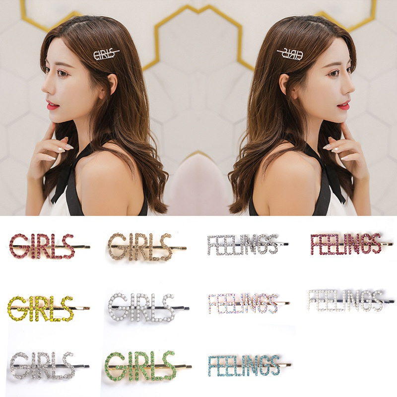 Korean rhinestone alloy diamond letter hairpin wholesale NHYAO340819