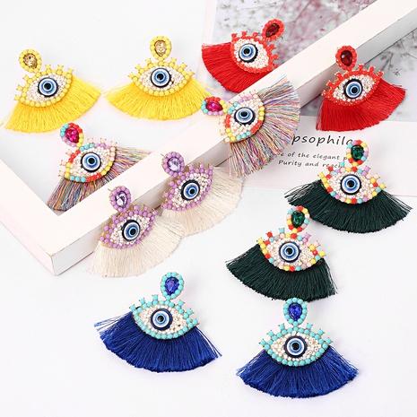 Boucles d'oreilles oeil du diable à pampilles colorées de style bohème NHYAO340825's discount tags