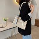 new fashion simple straw woven silk scarf pearl square bag NHJZ340937
