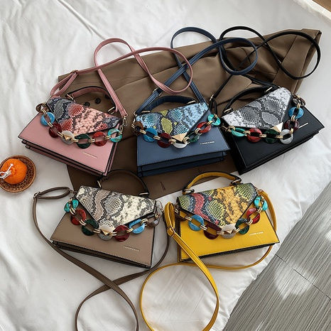 Koreanische Kontrastfarbe Schlangenmuster Schulter Messenger tragbare Tasche Großhandel NHLH341020's discount tags