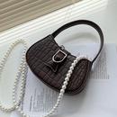 korean simple fashion crocodile pattern pearl chain messenger bag NHLH341040