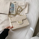 Fashion pearl straw woven chain shoulder messenger small square bag wholesale NHLH341072