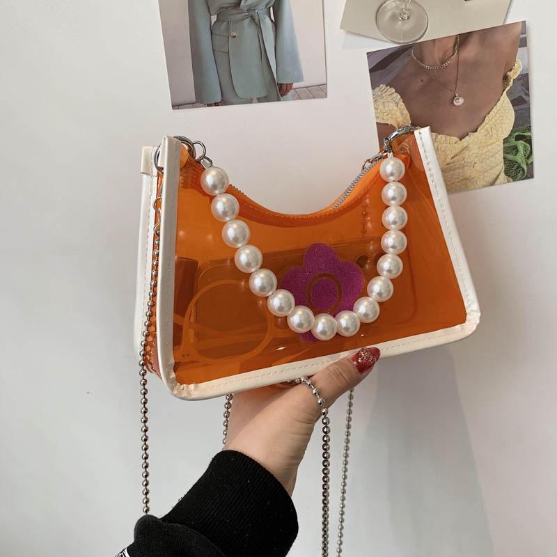 Fashion pvc transparent chain shoulder messenger portable bag wholesale NHTG341107