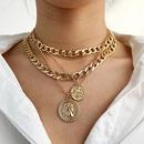 Fashion multilayer round medal alloy necklace wholesale NHPJ341167