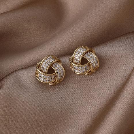 Boucles d'oreilles en cuivre de zircon micro-incrusté de ruban d'enroulement de Corée NHMS341203's discount tags