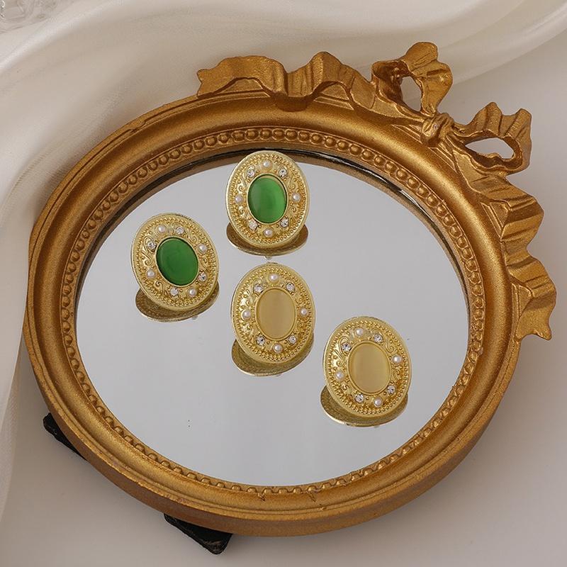Retro geometric green opal pearl rhinestone alloy earrings wholesale NHMS341208