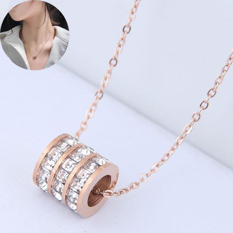 Korean Fashion Circle Zircon Titanium Steel Necklace NHSC341331