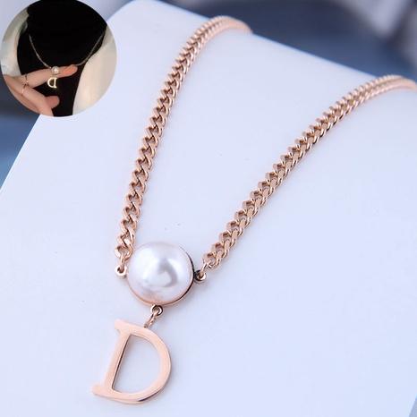 Koreanische Mode einfache D Brief Perle Titan Stahlkette NHSC341324's discount tags