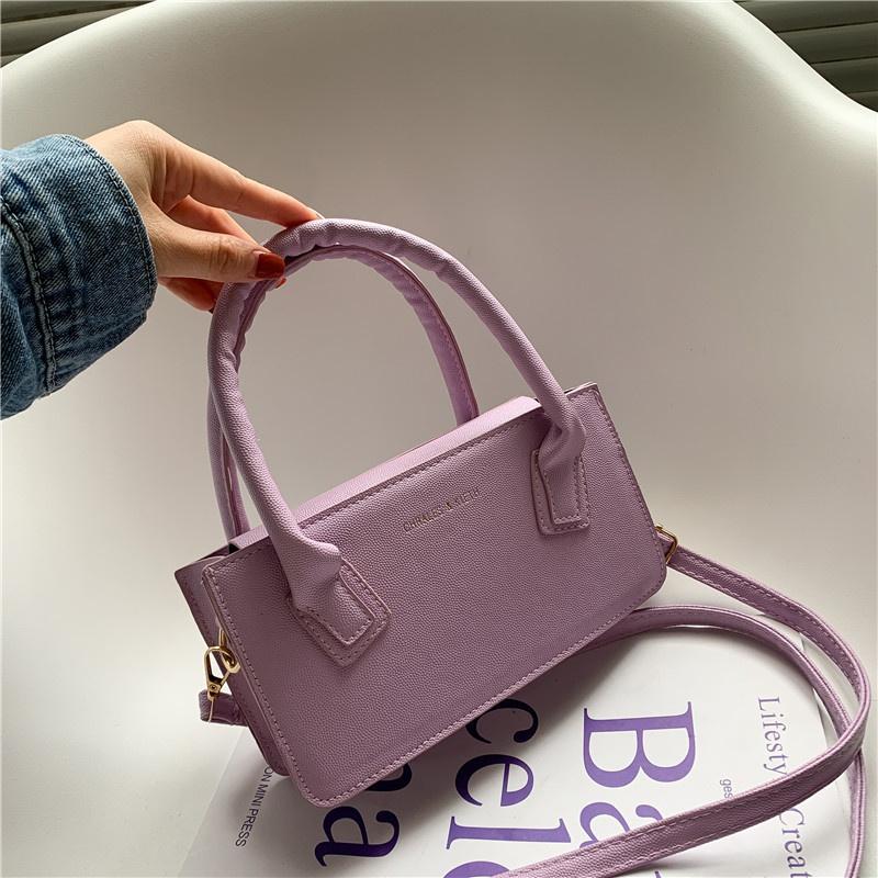 Fashion solid color shoulder messenger portable small square bag wholesale NHXC341259