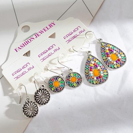 style rétro incrusté de perles de riz rondes ensemble de boucles d'oreilles couleur eau goutte d'huile NHAKJ341282's discount tags