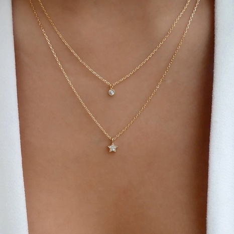 fashion new simple two-layer chain diamonds stars necklace NHOT341318's discount tags