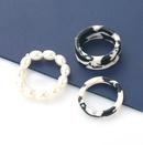Fashion leopard print imitation pearl threepiece couple ring  NHJE341362