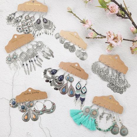 ensemble de boucles d'oreilles goutte goutte géométrique turquoise de style ethnique NHAKJ341365's discount tags