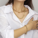 Fashion stacked twist alloy necklace bracelet set wholesale NHRN341384