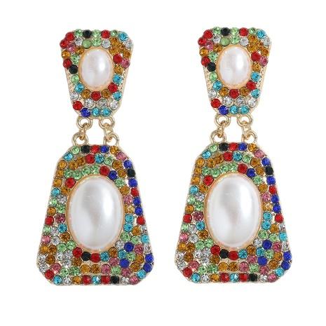 Boucle d'oreille sertie de diamants en alliage trapézoïdal brillant de mode en gros NHJQ341418's discount tags