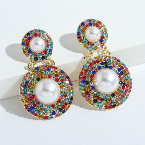 Boucles d'oreilles en alliage de perles acryliques à double disque à la mode NHJQ341419's discount tags
