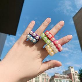 fashion geometric resin inlaid pearl ring wholesale NHJQ341421