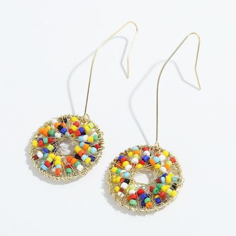 Bohemian ethnic style hand-woven rice bead geometric earrings NHJQ341427's discount tags