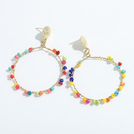boucles d'oreilles cercle de perles de riz style ethnique bohème NHJQ341428's discount tags