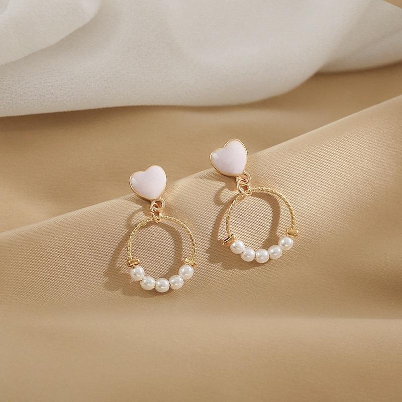 Fashion heartshape small circle alloy earrings wholesale NHWB341455