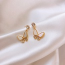 Fashion butterfly rhinestone alloy earrings wholesale NHWB341460