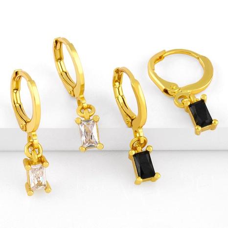 Boucles d'oreilles en cuivre de zircon micro-incrustées rectangulaires géométriques à la mode en gros NHAS341473's discount tags