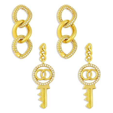 Boucles d'oreilles en cuivre zircon incrusté de clé géométrique à la mode en gros NHAS341474's discount tags